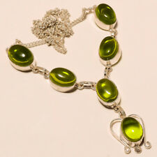 "Gorgeous ! Peridot qaurtz  Silver Plated Handmade Necklace 17""18""(Ae-7)"