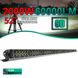 """52"""" inch Dual Row LED Light Bar Roof Spot Offroad Truck Driving ATV SUV 4WD Boat"""