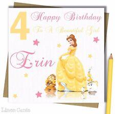 Personalised Princess Beauty Beast Daughter Granddaughter 3 4 5 6 Birthday Card