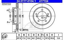 ATE Juego de 2 discos freno 287mm ventilado para SUZUKI VITARA JIMNY