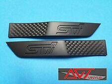 AVT 15-17 SUBARU WRX STI SIDE FENDER TRIM BADGE EMBLEM MATTE BLACK WITH BLK STI