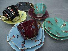More details for royal stuart spencer stevenson vintage 1950s harlequin fluted cups saucers etc.