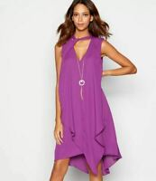 Debenhams Julien Macdonald Star Purple Layered Chiffon Necklace Shift Dress