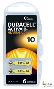 60 x Duracell ActivAir Hörgerätebatterien Typ 10 PR70 MercuryFree NEU 10 Blister