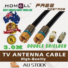 Y-CB25C-3M Video Coaxial Dual Shield RG6 TV Antenna Cable F Plug+ 2 Adaptors