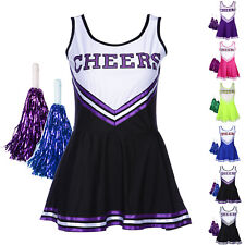 High School Cheer Girl Uniform Cheerleader Fancy Dress Costume Outfit w/ Pompoms