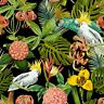 Birds in Paradise Tropical Scene Black Windham 100% Cotton Fabric by the yard