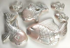 ChalkWare Set Of 6 Wall Hanging Pink Fish Bathroom Pearlized Retro Plaster EUC