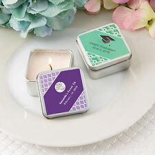 30 - Personalized Square Silver Metal Travel Candle Tin - Wedding Party Favor