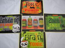 8 Halloween pop bottle labels,zombie snot,toxic punch,brain tonic embalming
