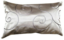James Brindley Embroidered Silver Satin Designer Cushion Cover