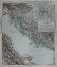Original antique map ADRIATIC SEA, DALMATIAN COAST, CROATIA, ITALY, Stieler 1891
