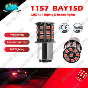 2x 1157 2057 Red LED Stop Turn Signal Brake Tail Light Bulbs BAY15D