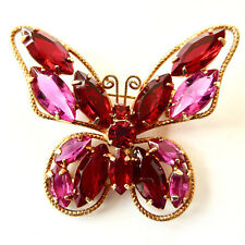 Butterfly Pin Brooch Rhinestones Red Pink Figural Gold Outline Vintage