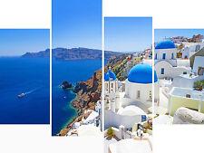 Large 4 Panel Set Wall Art Canvas Pictures Santorini Greece Sea Holiday Prints