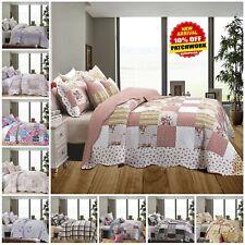 3 Piece Floral Vintage Throw Patchwork Bedspread Quilted Bedding Comforter Set
