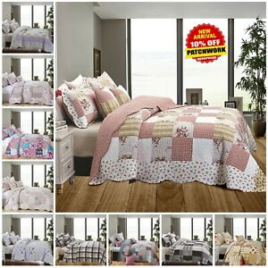 3 Piece Floral Vintage Throw Patchwork Bedspread Quilted Bedding Comforter Set