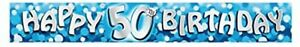 50th Birthday Banner Party Decorations Anniversary 2.7 Meter Long Blue Boys Deco