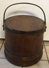 New listing Aafa Antique Primitive Large Wooden Wood Firkin Bucket Pail w/Lid 4 Finger Bands