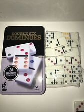 """Cardinal Double-Six Dominoes 28 COLORED DOTS in METAL TIN """"BRAND NEW"""" F65"""