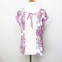 Stitch Fix Daniel Rainn Blouse Pink Paisley Boho Print Petite Medium Crochet Top
