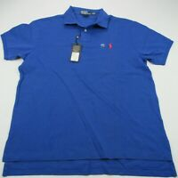 Polo Ralph Lauren Mens Shirt Blue Solid NEW Short Sleeve Custom Fit Red Pony