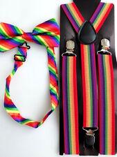 Man Lady mardi gra Costume Rainbow Colorful Stripe Brace Suspender belt bowtie