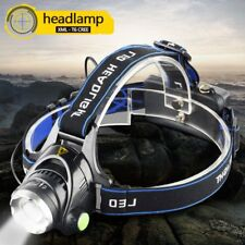 VANDER 10000LM LED Headlamp 3-Mode Zoomable Headlight + 2x 18650 Battery+Charger