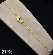 21K Solid Gold Bracelet Nazar Evil Eye Made in UAE 5.7 g #9to5jewelry
