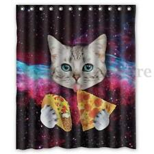 Space Nebula Universe Cat Pizza Home Bathroom Shower Curtain Polyester Hook Set