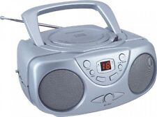 Sylvania SRCD243 Portable CD Player with AM/FM Radio, Boombox (Silver), New