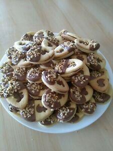 500g Selbstgebackene Oster Kekse, Gebäck Plätzchen mit Nussnougatschokolade
