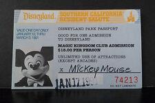 1991 Disneyland Magic Kingdom Club So.Cal. Resident Salute Admission Ticket