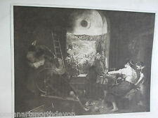 ANTIQUE PRINT DATED 1901 THE SPINNERS BY VELASQUEZ VINTAGE ART PRINT ENGRAVING