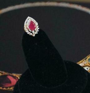 2 Ct Pear Cut Red Ruby & Sim Diamond Womens Stud Earrings 14K Yellow Gold Plated