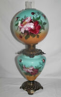 "Antique Hand Painted Gone with the Wind Oil Lamp with WILD ROSES ~RARE 12"" Shade"