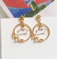 E1127 Betsey Johnson Easter Rabbit Bunny Flower Garden Hoop Pearl Earrings  UK