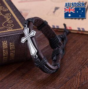 Vintage Bohemia Brown Twist Weave Cross Black Rope Leather Adjustable Bracelet