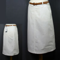 """New M&S CLASSIC A-Line DENIM SKIRT with BELT ~ Size 12 / 27"""" Length ~ OFF WHITE"""