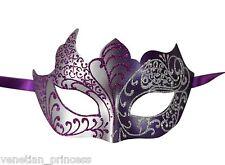 Purple SIlver Men's Venetian Mask Masquerade Laser Cut Mardi Gras Wedding Prom