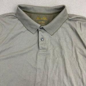 Tasso Elba Polo Shirt Mens 2XL Brown Short Sleeve Two Button Up Supima Cotton