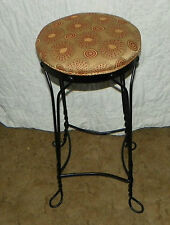Black Wrought Rod Iron Metal Bar Stool with Abstract Print  (BN129)