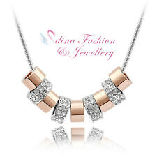 18K White & Rose Gold Plated Made With Swarovski Crystal Beaded Stylish ecklace