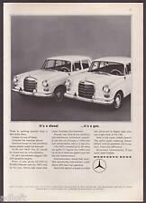 "1965 Mercedes-Benz 190 & 190 D photo ""Diesel & Gas"" vintage promo print ad"