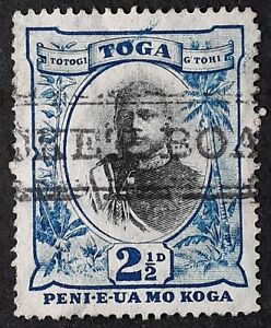 c. 1897 Tonga 2 1/2 d Blue black George II stamp with Packet Boat cancel.