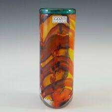 More details for signed & labelled gozo maltese orange & yellow glass vase