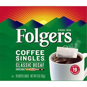 Folgers Coffee Singles, Classic Decaf, Medium Coffee Bags, 19 Ct