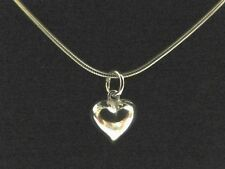 STERLING SILVER Charm Pendant 3D Puffy Heart Small Shiny Cute 0.8g 925 NEW B18