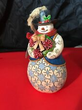 Jim Shore Poinsettia Wreath Snowman w/ Ornaments Winter'S Tradition