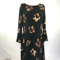 Tommy Hilfiger Womens Size 8 Dress 3/4 Sleeves Zip Back Black Brown Floral